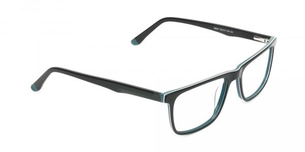 Black and Dark Green Temple Tips Glasses in Rectangular - 2