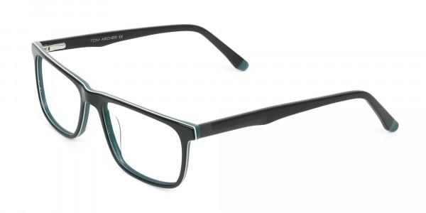 Black and Dark Green Temple Tips Glasses in Rectangular - 3