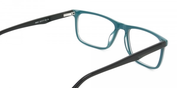 Black and Dark Green Temple Tips Glasses in Rectangular - 5