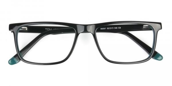 Black and Dark Green Temple Tips Glasses in Rectangular - 6