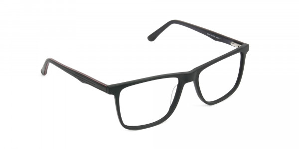 Designer Matte Black Spectacles Rectangular Men Women - 2