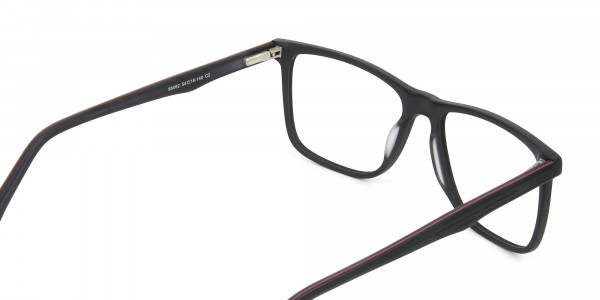 Designer Matte Black Spectacles Rectangular Men Women - 5