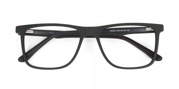 Designer Matte Black Spectacles Rectangular Men Women - 6