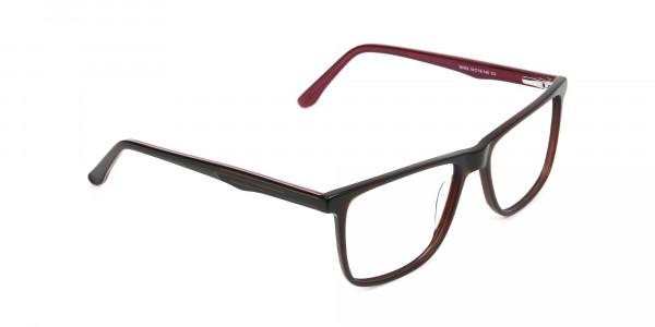 Designer Dark Brown & Red Frame Glasses Men Women - 2