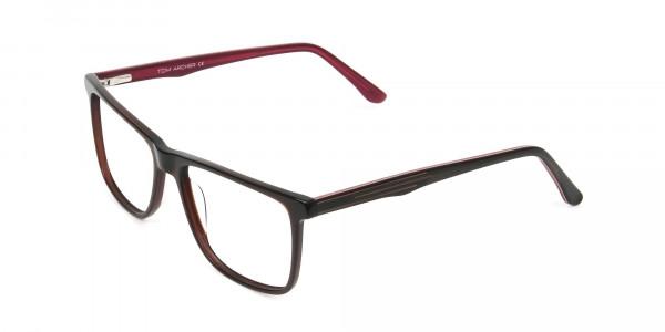 Designer Dark Brown & Red Frame Glasses Men Women - 3