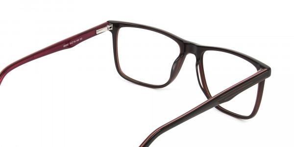 Designer Dark Brown & Red Frame Glasses Men Women - 5