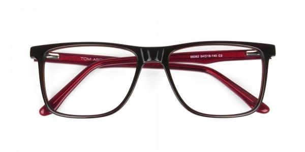 Designer Dark Brown & Red Frame Glasses Men Women - 6