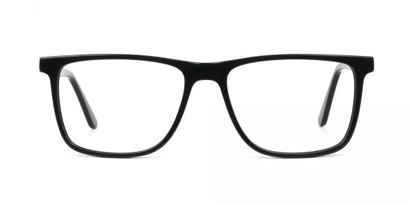 Black & Grey Rectangular Glasses in Acetate - 1