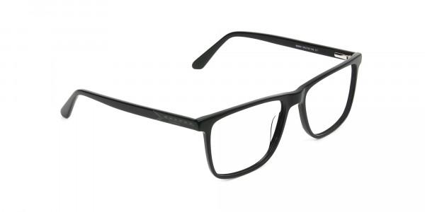 Black & Grey Rectangular Glasses in Acetate - 2