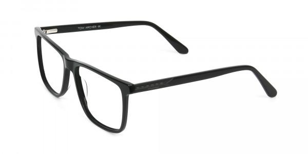 Black & Grey Rectangular Glasses in Acetate - 3