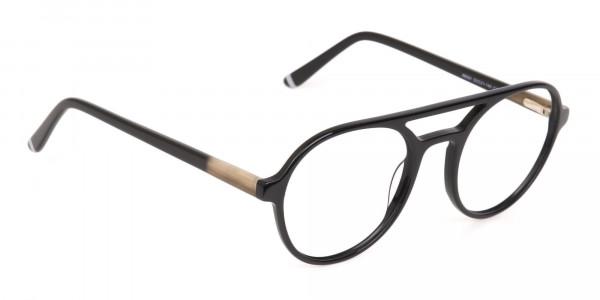 Black Double Bridge Designer Glasses Frame Unisex-2