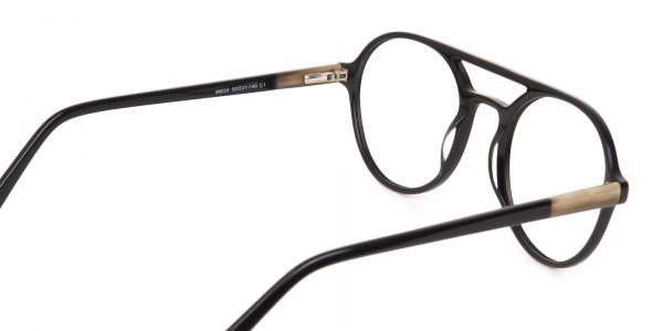 Black Double Bridge Designer Glasses Frame Unisex-5