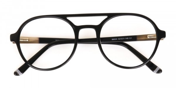 Black Double Bridge Designer Glasses Frame Unisex-6
