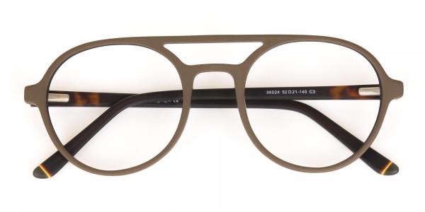 Oak Brown and Tortoise Designer Round Eyeglasses-6