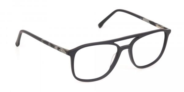 Rectangular Matte Black Double Bridge Glasses-2