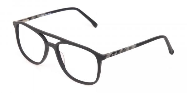 Rectangular Matte Black Double Bridge Glasses-3
