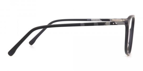 Rectangular Matte Black Double Bridge Glasses-4