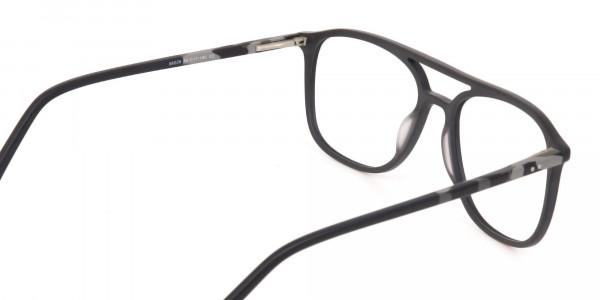 Rectangular Matte Black Double Bridge Glasses-5