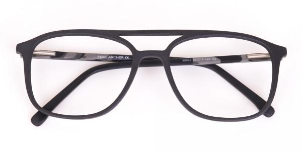 Rectangular Matte Black Double Bridge Glasses-6