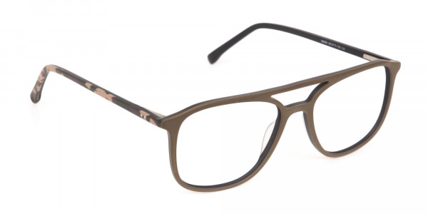 Rectangle Oak Brown & Tortoise Double Bridge Frame-2