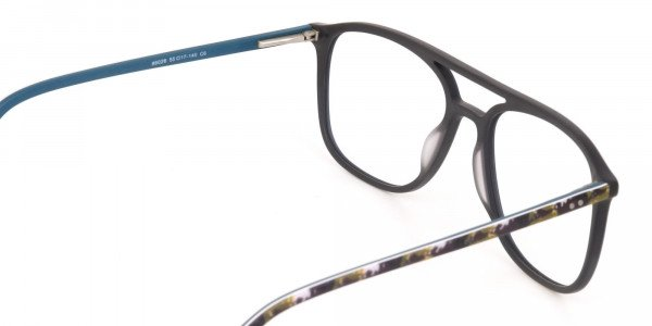 Double Bridge Frame in Turquoise & Camouflage Green -5