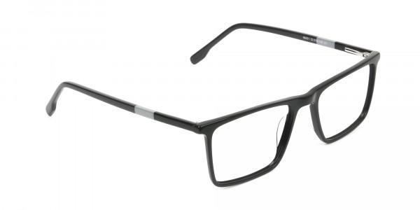Unisex Black Rectangular Glasses - 2