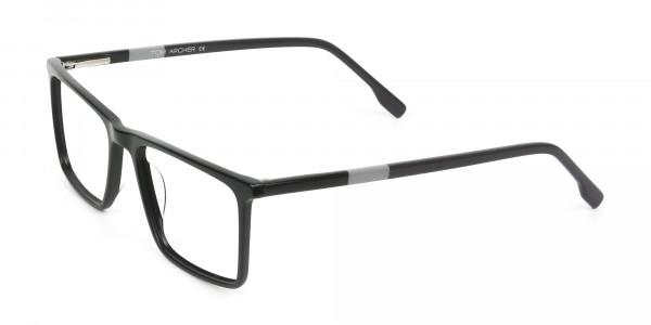Unisex Black Rectangular Glasses - 3
