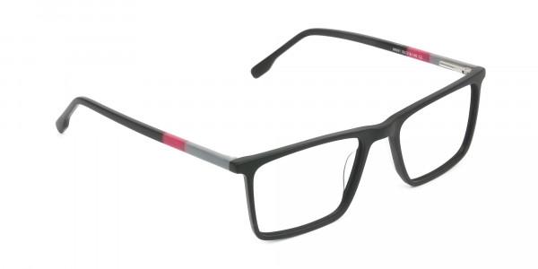 Matte Black & Red Rectangular Glasses - 2