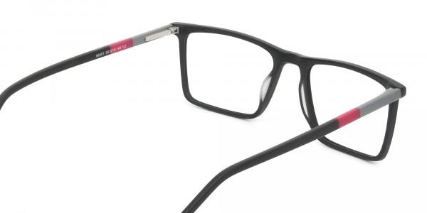 Matte Black & Red Rectangular Glasses - 5