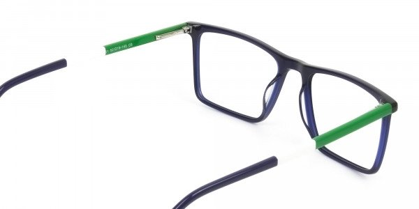 Blue & Green Rectangular Glasses - 5