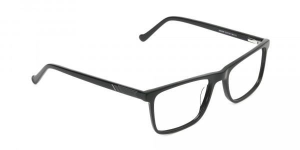 Round Temple Tip Glossy Black Eyeglasses Rectangular - 2