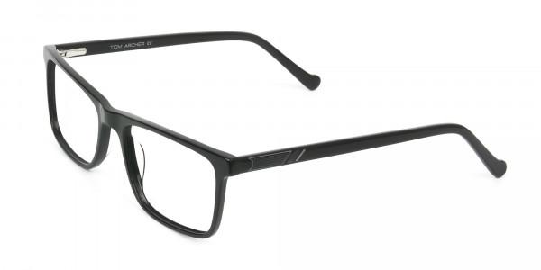 Round Temple Tip Glossy Black Eyeglasses Rectangular - 3