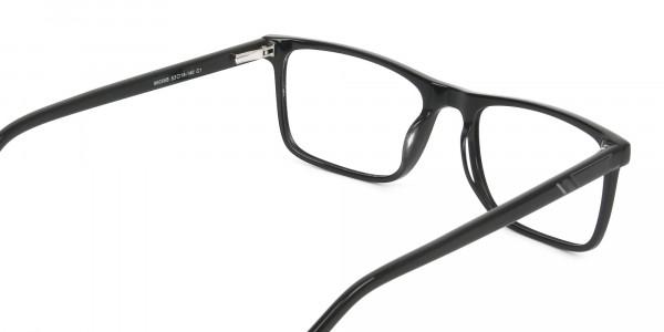 Round Temple Tip Glossy Black Eyeglasses Rectangular - 5