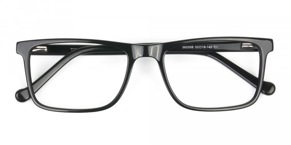 Round Temple Tip Glossy Black Eyeglasses Rectangular - 6