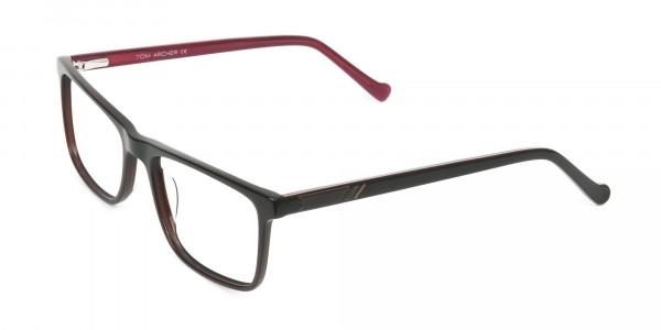 Round Temple Tip Dark Brown & Red Glasses in Rectangular - 3