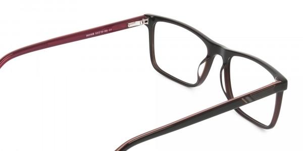 Round Temple Tip Dark Brown & Red Glasses in Rectangular - 5