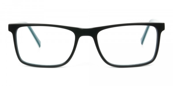 Round Temple Tip Black & Teal Glasses in Rectangular - 1