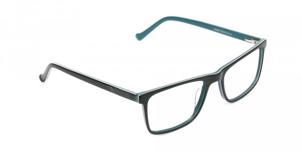 Round Temple Tip Black & Teal Glasses in Rectangular - 2