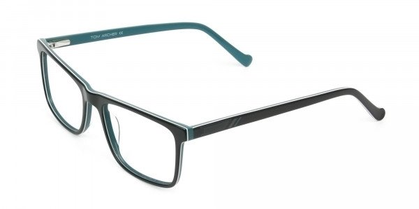 Round Temple Tip Black & Teal Glasses in Rectangular - 3