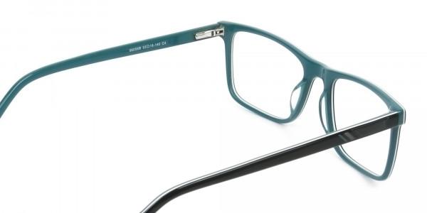 Round Temple Tip Black & Teal Glasses in Rectangular - 5