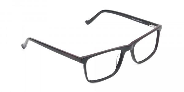 Round Temple Tip Red & Purple Eyeglasses in Rectangular - 2
