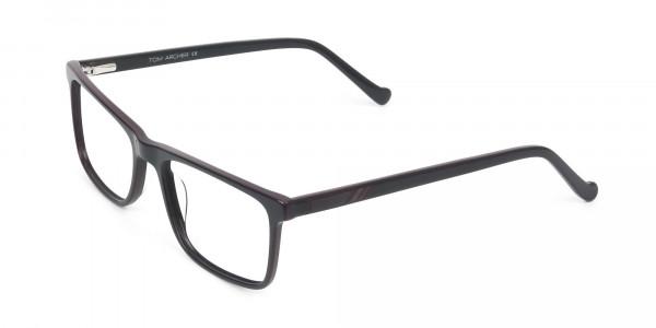 Round Temple Tip Red & Purple Eyeglasses in Rectangular  - 3