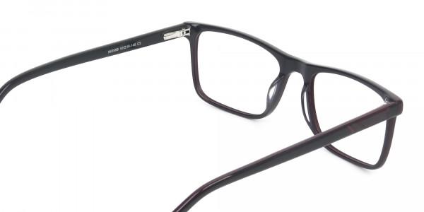 Round Temple Tip Red & Purple Eyeglasses in Rectangular - 5