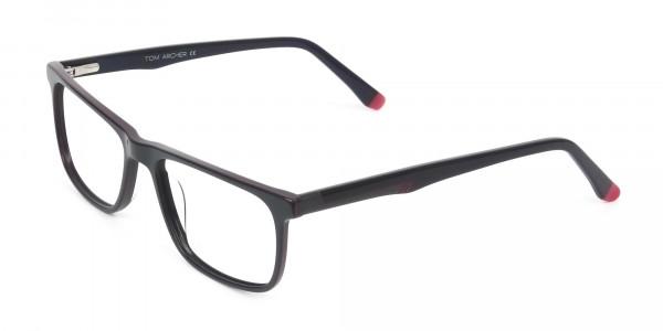 Dark Blue & Burgundy Temple Tips Glasses in Rectangular - 3