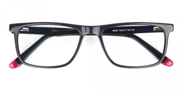 Dark Blue & Burgundy Temple Tips Glasses in Rectangular - 6