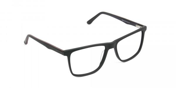 Designer Matte Black Spectacles Rectangular Men Women - 2