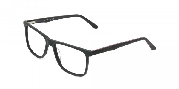 Designer Matte Black Spectacles Rectangular Men Women - 3