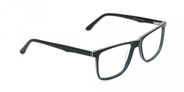 Designer Black & Teal Spectacles in Rectangular - 2