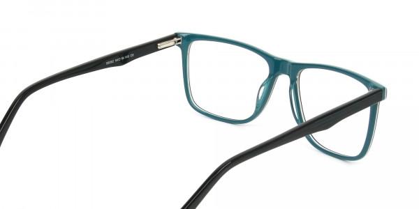 Designer Black & Teal Spectacles in Rectangular - 5