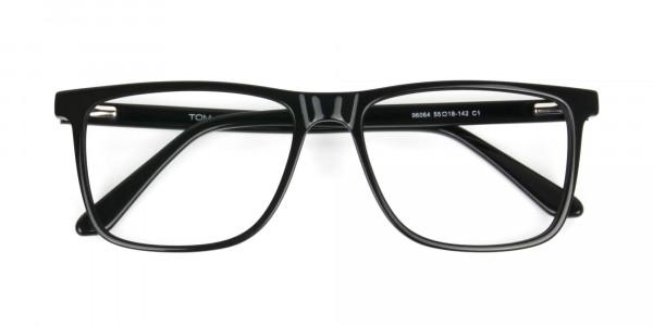 Black & Grey Rectangular Glasses in Acetate - 6